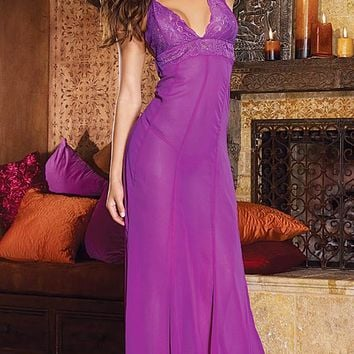 Nightgown - Orchid Sheer Chiffon & Lace Low-Back (Small, XL)