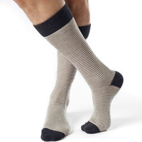 William- Mid Calf Pinstripe Socks Dark Grey Ivory - Organic Cotton Socks by Zkano