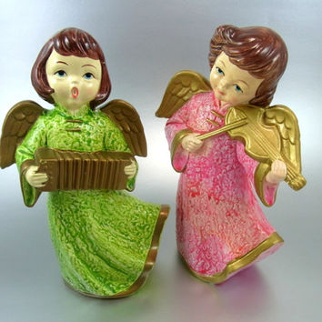 Angel Figurines Angels Playing Musical Instruments Vintage Collectibles