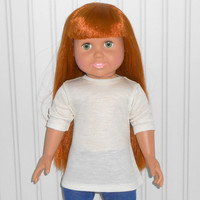 18 inch Girl Doll Clothes Beige Shirt Cotton Knit Tee Shirt American Doll Clothes