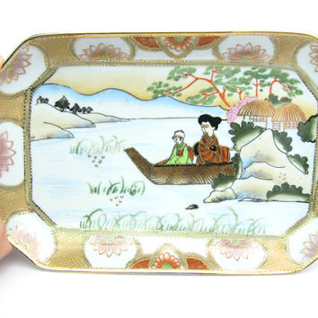 Japanese Hand Painted Vanity Tray. Figures, Boat & Water Scene, Trees. Lotus Flowers. Gold Moriage. Vintage Ceramic Dresser, Trinket Tray.