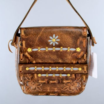 Vintage 1960s Leather Purse / 60s Tooled Leather Handbag / 70s Hippie Bohemian Boho Small Bag