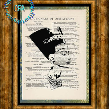 Black Egyptian Queen Nefertiti Art - Beautifully Upcycled Vintage Dictionary Page Book Art Print