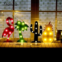 Tronzo  Flamingo Led Light Christmas Wedding Decoration For Home Marquee Unicorn Head Pineaapple Lantern Party 3D Night Lamp