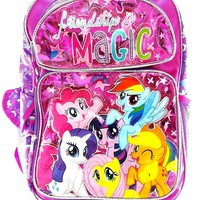 "Hasbro My Little Pony Girls 16"" Pink School Rolling Backpack Friendship is Magic"