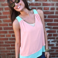 Peach & Mint Color Block Tank | The Rage