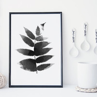 Black and white leaf art print, botanical art print, watercolor leaf art, nature art print, minimal & simple illustration, home decor, gift