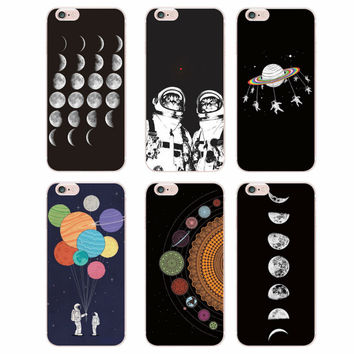For iPhone SE 5C 4S 5S 6S 6Plus 7Plus 7 Samsung Galaxy S5 S6 S7 edge Space Love Moon Astronaut Cat Soft Silicone Printed Case