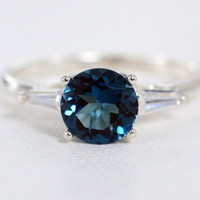 London Blue Topaz Baguette Accented Sterling Silver Ring, December Birthstone Ring, London Blue Topaz Ring, Cz Baguette Accent Ring
