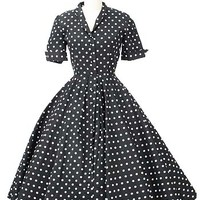 50s Polka Dot Dress-1950s Vintage Dresses #polkadotdress #50sdress #swingdress #1950sdress #bluevelvetvintage