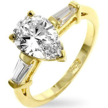 Pear Cut and Baguette 14K Gold over .925 Sterling Silver Ring