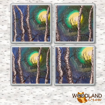 Birch Tree Drink Coasters, Set of 4, Birch Trees on a Snowy Glow Night, Painted Art Bar Coasters, Hot and Cold Drinks, Made to Order
