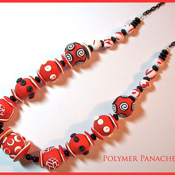 "Chunky Necklace Red Black White Polymer Clay Handcrafted 18"" Statement Necklace Large Bead Necklace"