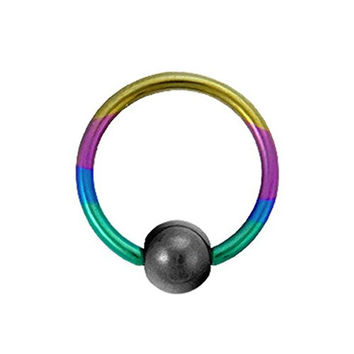Titanium Ball Closure Ring in Rainbow with Hematite Bead 16 Gauge by 3/8""