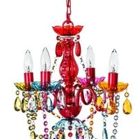 """The Original Gypsy Color 4 Light Small Gypsy Chandelier H18"""" W15"""", Red Metal Frame with Multi Color Crystals"""