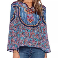 Tribe Pattern Print V-neck Bell Sleeve Blouse