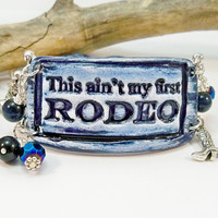 Denim Cowgirl Jewelry, Western Jewelry, Rodeo Bracelet, Country Western, Ceramic Cuff, Cuff Bracelet, Beaded Bracelet