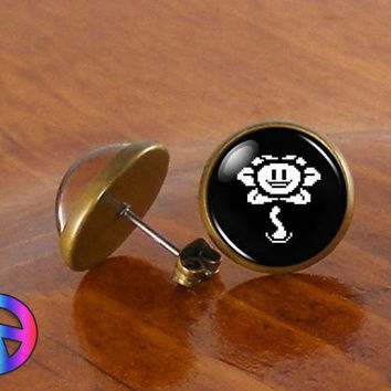 Undertale Flowey Game Gamer Gaming Fashion Stud Earrings Jewelry Gift Present