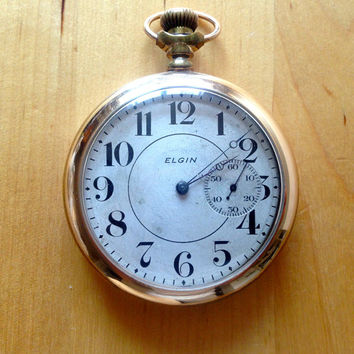 1885 WORKING FREE SHIPPING - Pocket Watch gold - 1885 Elgin 15j - FortnightCastle