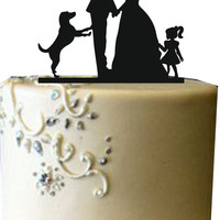 Family Wedding cake topperwith dog and little girl, Funny wedding cake topper, Unique wedding cake topper, Rustic wedding cake topper
