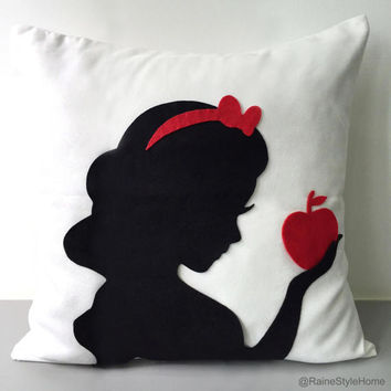 Snow White Silhouette Decorative White Pillow Cover. 16inch Handmade Fairy Tale Inspired Cushion Cover. Girls Room Decor. Baby Shower Gift