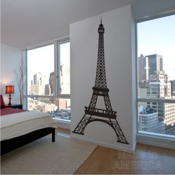 Wall Decal - Eiffel Tower 8 Feet Tall Highly Detailed  - Vinyl Wall Art Decals