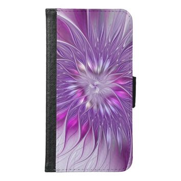 Pink Flower Passion Abstract Fractal Art Wallet Phone Case For Samsung Galaxy S6