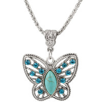 Butterfly Faux Turquoise Necklace