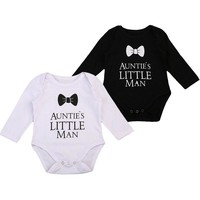 Pudcoco Cute Newborn Baby Boy Gentleman Tie Bodysuit Little Man Jumpsuit Clothes Outfits 0-18M