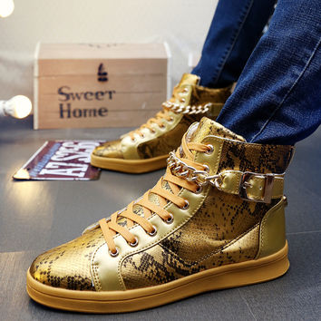 Men's Faux Snake Skin Chain Boots In 3 Colors!