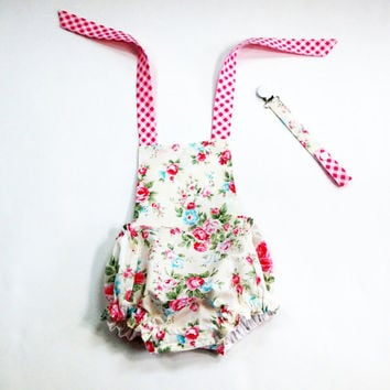 6 month girls romper baby romper floral summer romper bubble romper 100% cotton princess rose fabric pink floral romper halter romper
