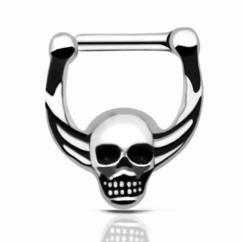 Septum Clicker Nose Piercings Jewelry 316L Hinged Skull Nose Ring Septum faux septum rings Skeleton Body Jewelry