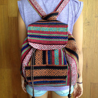 Multicolored Boho Hippie Woven Cotton Backpack