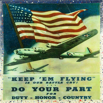 Vintage Patriotic Military Art - Air Force Military - Keep Em Flying- Handmade Recycled Tile Coaster
