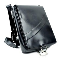 Plain Black Messenger Sling Bag Purse with Chain