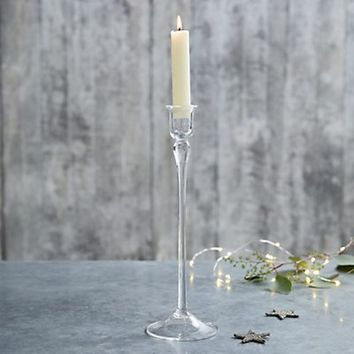 Glass Tall Dinner Candle Holder | Candle Holders | The White Company UK