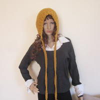 MUSTARD HOODED HAT, hood hat, Balaclava, Chunky pixie hood, hooded hat, womens hat, Crochet Hood, Hoodie hat, winter acc