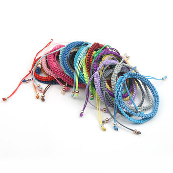 3um handmade friendship bracelets adjustable wrap cheap wax cotton cord braided macrame bracelet artificial jewelry beach summer