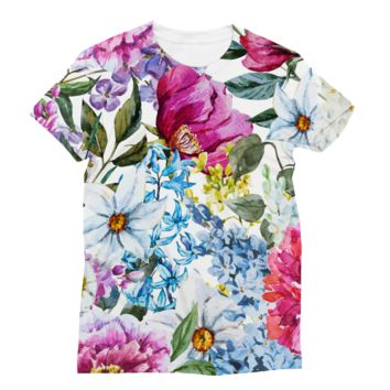 Bright Classic Flower Fabric Subli Sublimation T-Shirt