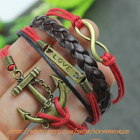 bronze anchor love bracelet infinity karma bracelet wish bracelet vintage bronze leather -N596