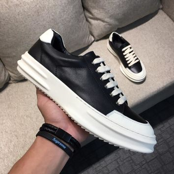 Rick Owens RO Black White Leather Low-Top Sneakers - Best Deal Online