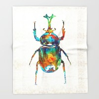 Colorful Beetle Art - Scarab Beauty - By Sharon Cummings Throw Blanket by Sharon Cummings | Society6