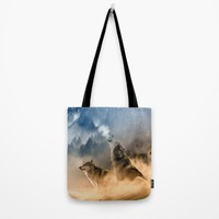 Fantasy Wolf Wolves Animal Tote Bag by WonderfulDreamPicture