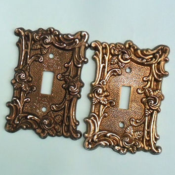 Vintage Light Switch Plate Covers Amer Tack & Howe Co Ornate Roses and Flourishes Silver Tone Brass Double Switchplate 1967 Home Restoration