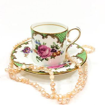 English Demitasse / Tea Cup & Saucer, Aynsley Demitasse Set, Pink Yellow Roses, Bone China, Shabby Chic Decor, Porcelain, Vintage