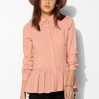 The Whitepepper Polka Dot Peplum Shirt - Urban Outfitters