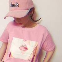 Tee Shirt Femme  Summer New TShirt Korea Ulzzang Harajuku Print Women O neck Pink T-Shirts Casual Loose Short Sleeve Tops