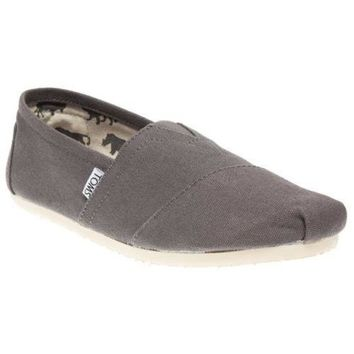 new womens toms grey classic canvas shoes slip on