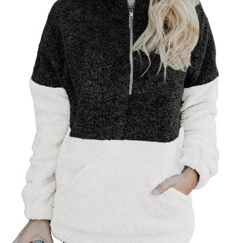 Women Black White Zip Neck Oversize Fluffy Fleece Pullover