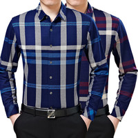 Men Blouse Plaid Shirt Long Sleeve Cotton Casual Shirt [6544524547]